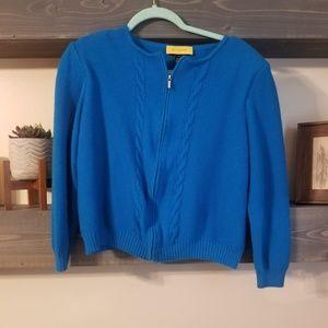 St. John Yellow tag blue zip up sweater wool